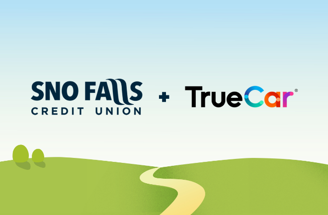 Sno Falls and TrueCar logo above a windy, country road