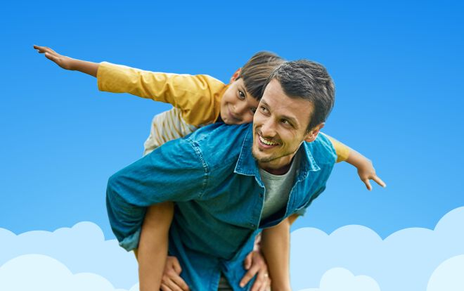 Father and son with blue sky background