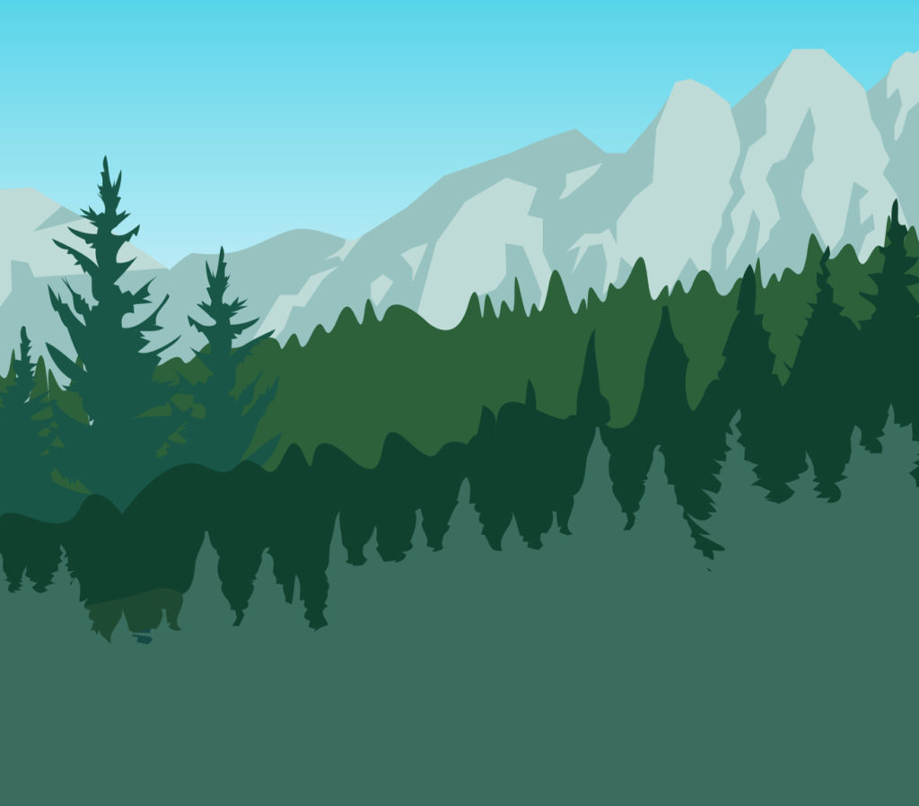 Illustrated forest and mountain range