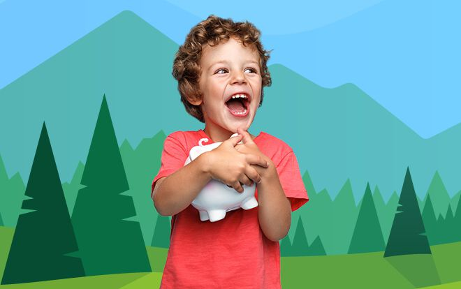 Small child with piggy bank with forest background