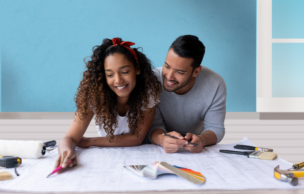 Man and woman planning renovations to their home