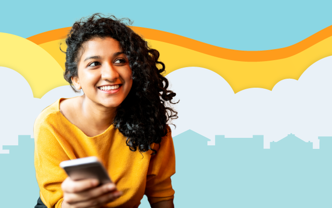 Woman smiling with her phone in front of illustrated skyline at sunset