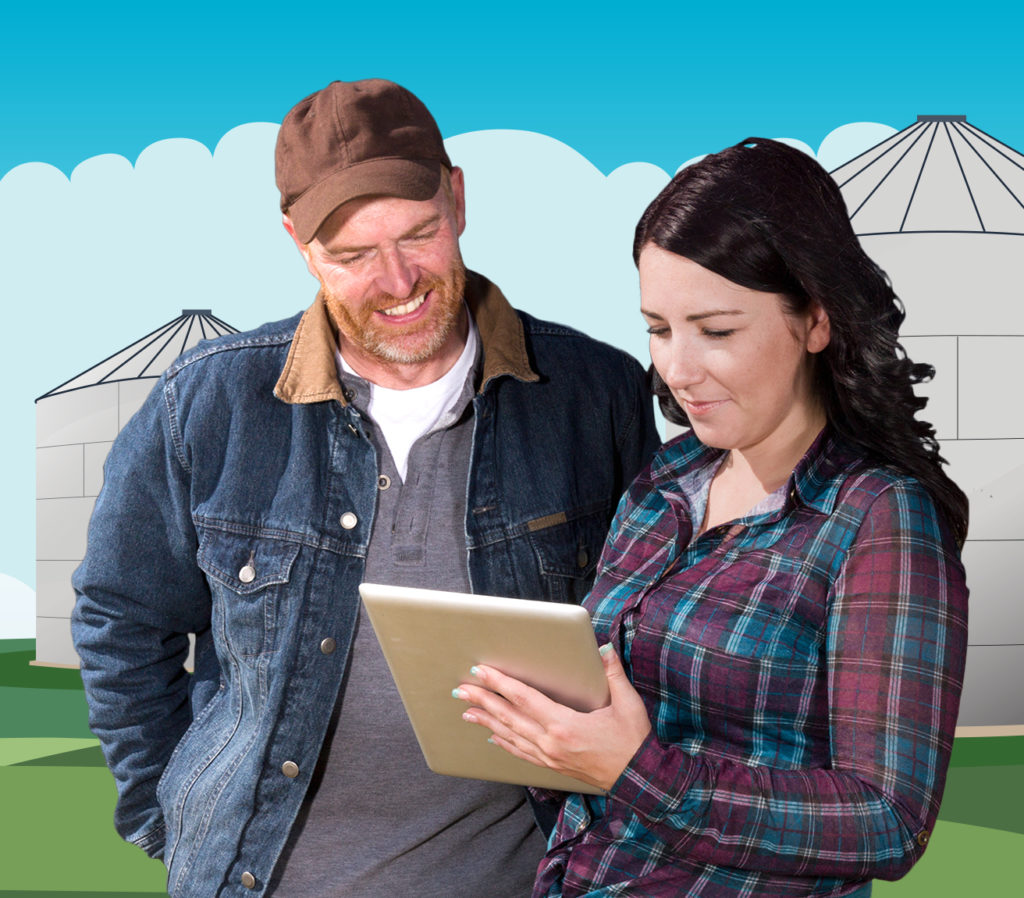 Man and woman look at a tablet in front of illustrated farm structures