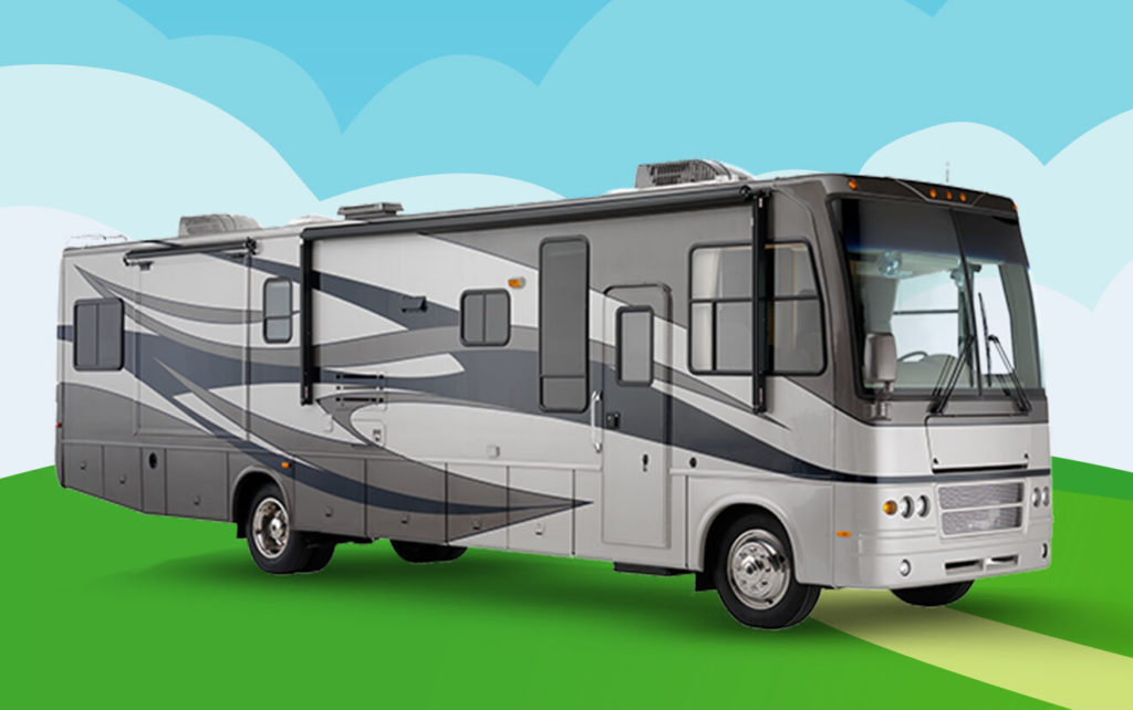 Gray RV parked on an illustrated, sunny hill